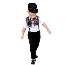 Bad Boys Fashionable Outfit with Cotton Satin Shirt and Cotton Velvet Bottoms - mashup boys