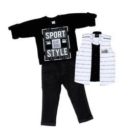 Elegant and Casual Outfit with Cotton Knit Shrug and Cotton Knit Stretch Joggers