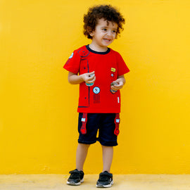 MashUp Junior Fashionable Outfit with Cotton Knit T-shirt and Denim Bottoms