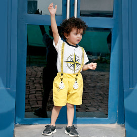 MashUp Junior Stylish and Casual Outfit with Cotton Knit T-shirt and Shorts
