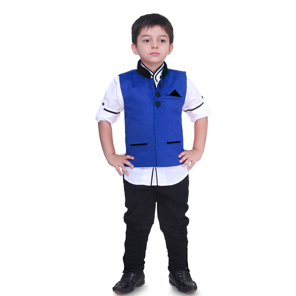 Bad Boys Royal Blue Nehru Jacket Set - mashup boys