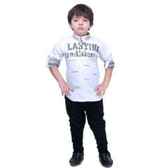 Bad Boys White Casual Kurta Set - KRAZYLA