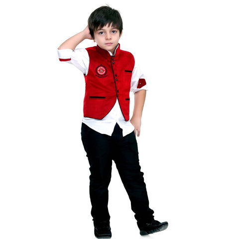 Bad Boys Red Velvet Nehru Jacket Set - mashup boys