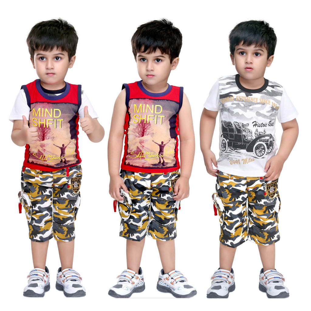 Bad Boys Camou-print Casual Set - Pack of 3 - KRAZYLA