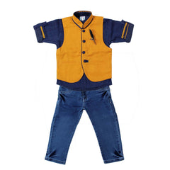 Bad Boys Mustard & Navy Nehru Jacket Set - mashup boys