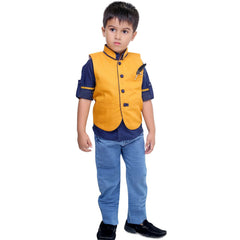 Bad Boys Mustard & Navy Nehru Jacket Set - KRAZYLA