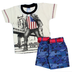 Bad Boys US Army Print Tshirt & Shorts Set - mashup boys