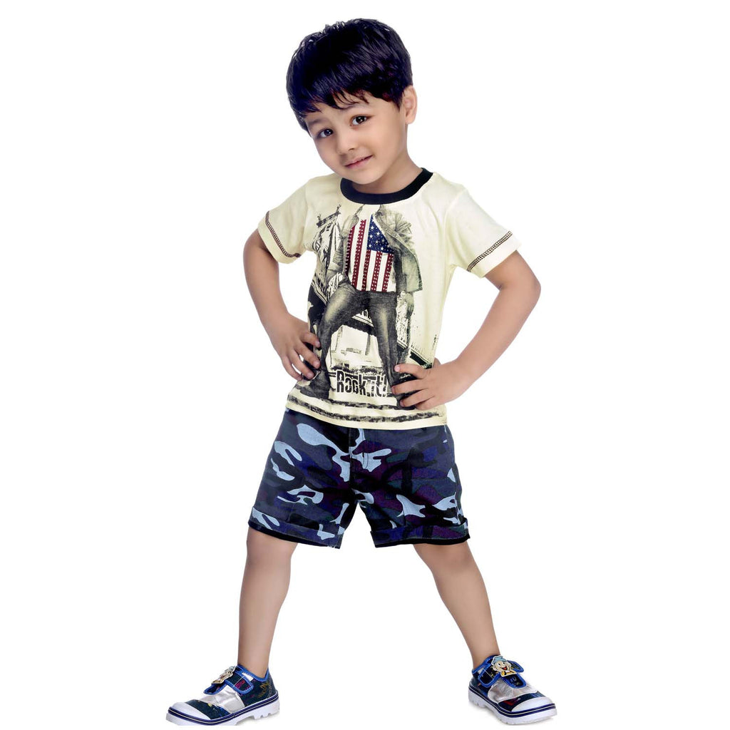 Bad Boys US Army Print Tshirt & Shorts Set - KRAZYLA