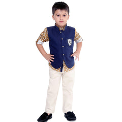 Bad Boys Brown and Navy Blue Nehru Jacket Set - KRAZYLA