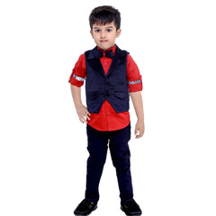 Bad Boys Red & Navy Printed Waistcoat Set - KRAZYLA