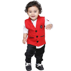 Bad Boys Classic Red Nehru Jacket Set - KRAZYLA