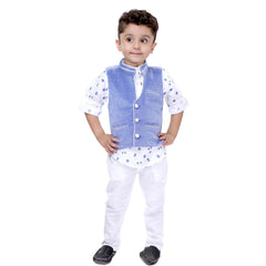 Bad Boys White & Blue Nehru Jacket Set - mashup boys