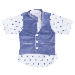 Bad Boys White & Blue Nehru Jacket Set - KRAZYLA