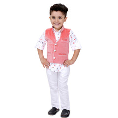 Bad Boys White & Red Nehru Jacket Set - KRAZYLA
