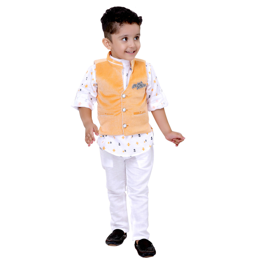 Bad Boys White & Yellow Nehru Jacket Set - mashup boys