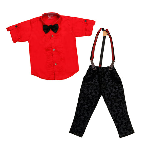 Bad Boys Plaid Party Wear Outfit with Suspenders and a Bow tie. - mashup boys