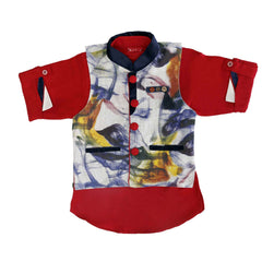 Bad Boys Red Digital Print Nehru Jacket Set - KRAZYLA