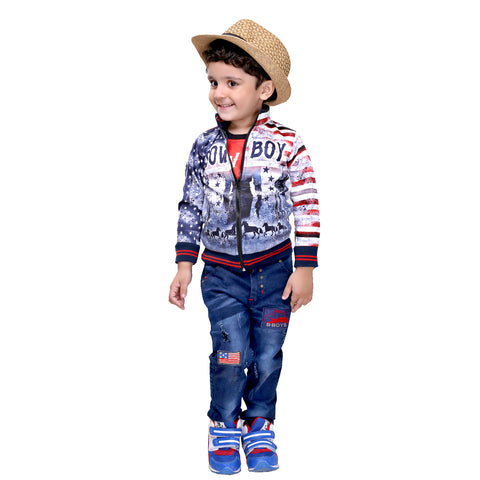 Bad Boys American Cowboy Suit With Full Sleeves Jacket, Sleeveless T-shirt And Denim Jeans - mashup boys