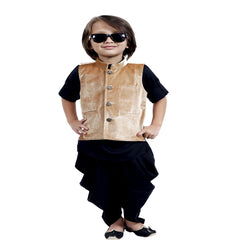 Black and khaki Nehru Jacket Ethnic outfit - KRAZYLA