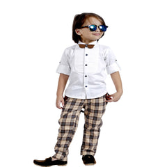 Plaid Party wear Outfit with Suspenders and wooden bow tie. - KRAZYLA