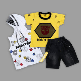 Bad Boys Stylish Outfit with Cotton T-shirt, Shorts and Hoodie - MASHUP