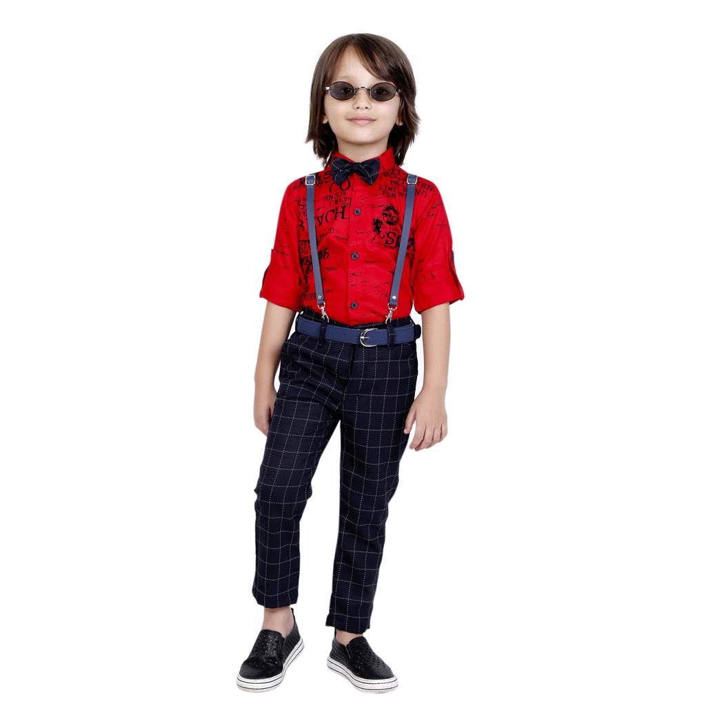 Bad Boys printed party Outfit with Suspenders and a Bow. - mashup boys