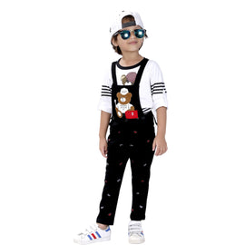 Bad boys printed denim dungaree set. - mashup boys