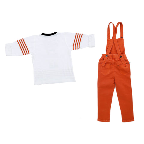 Bad boys printed Orange dungaree set. - MASHUP