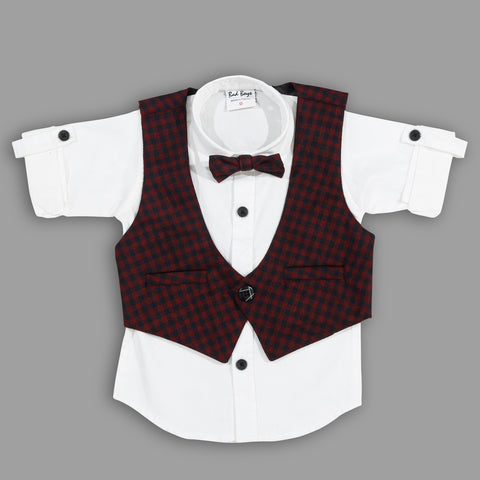 Bad Boys Party wear Outfits with Cotton T-shirt and Plaid Cotton Bottoms and Waistcoat - MASHUP