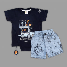 MashUp Junior  Stylish Casual Outfit with Cotton Knit T-shirt and Cotton Twill Print Bottoms