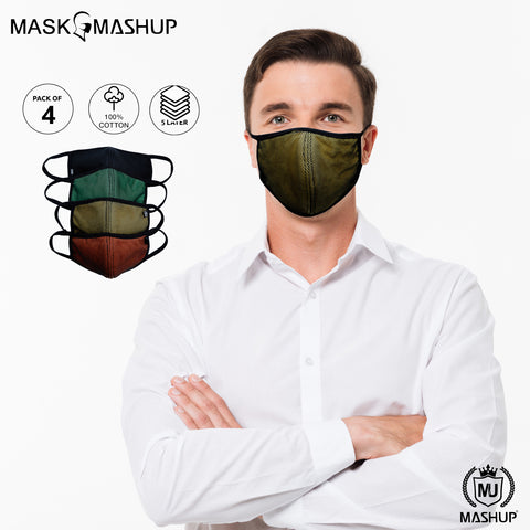 Mashup Fashion Mask,Washable Reusable 5 layer Protective mask (Pack of 4)(Adult)(Free Size) - MASHUP