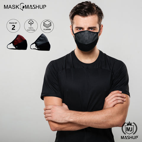 Mashup Fashion Mask,Washable Reusable 3 layer Protective mask (Pack of 2)(Adult)(Free Size) - MASHUP