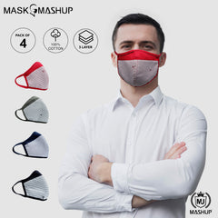 Mashup Fashion Mask,Washable Reusable 3 layer Protective mask (Pack of 4)(Adult)(Free Size) - MASHUP