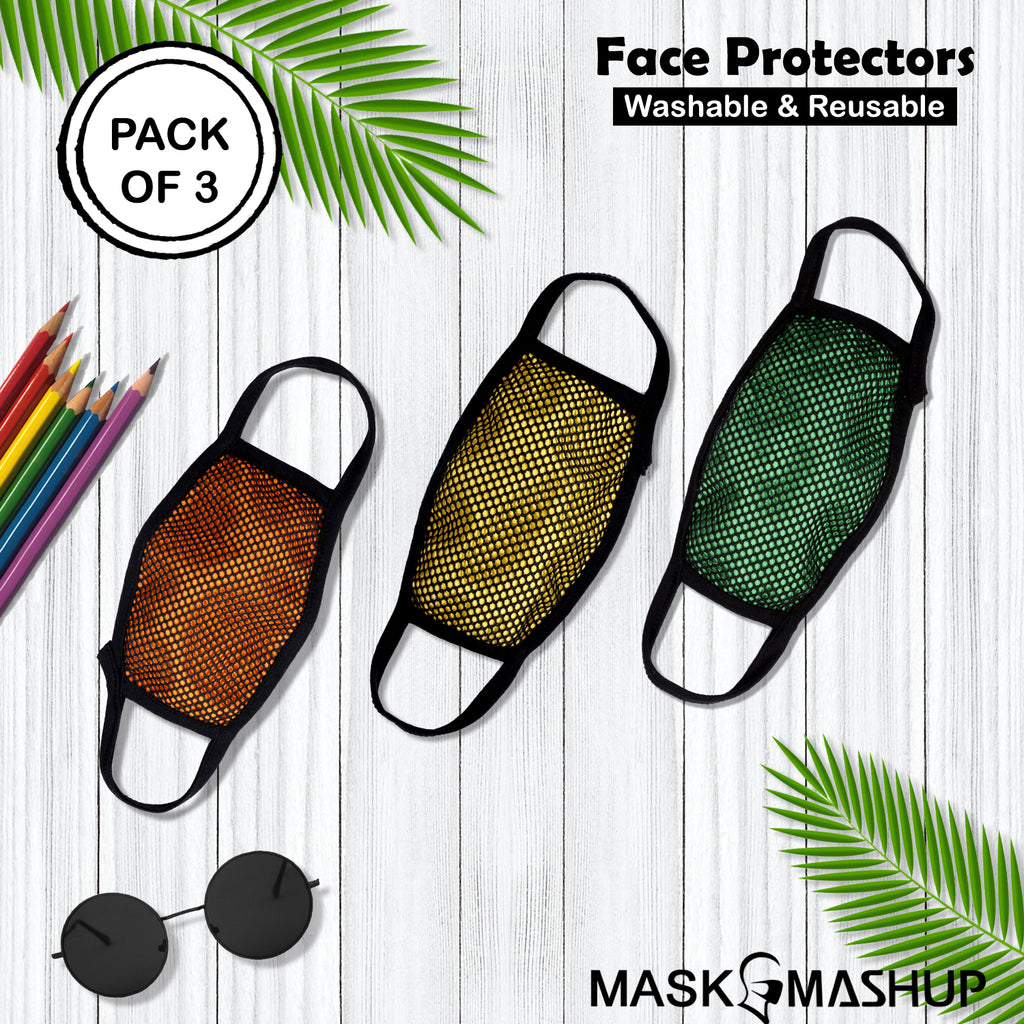 MashUp fashion mask,washable cotton face mask (Free Size-Adults)(Pack of 3) - MASHUP