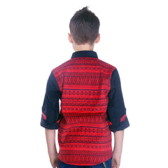 MashUp Red Printed Coduroy Shirt - KRAZYLA