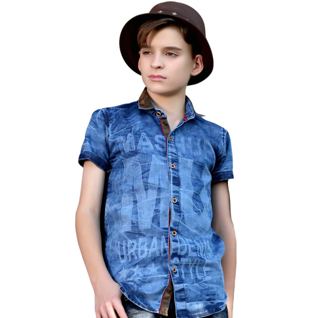 MashUp Urban Style Denim Shirt - KRAZYLA