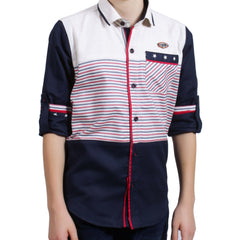 Classic Navy Shirt with Red Stripes - KRAZYLA