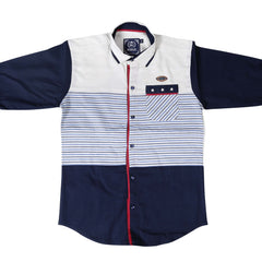Classic Navy Shirt with Blue Stripes - KRAZYLA