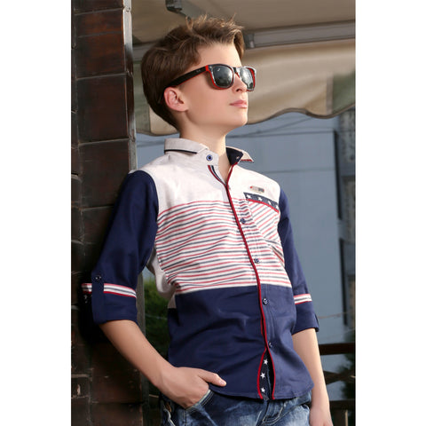 Classic Navy Shirt with Red Stripes - mashup boys