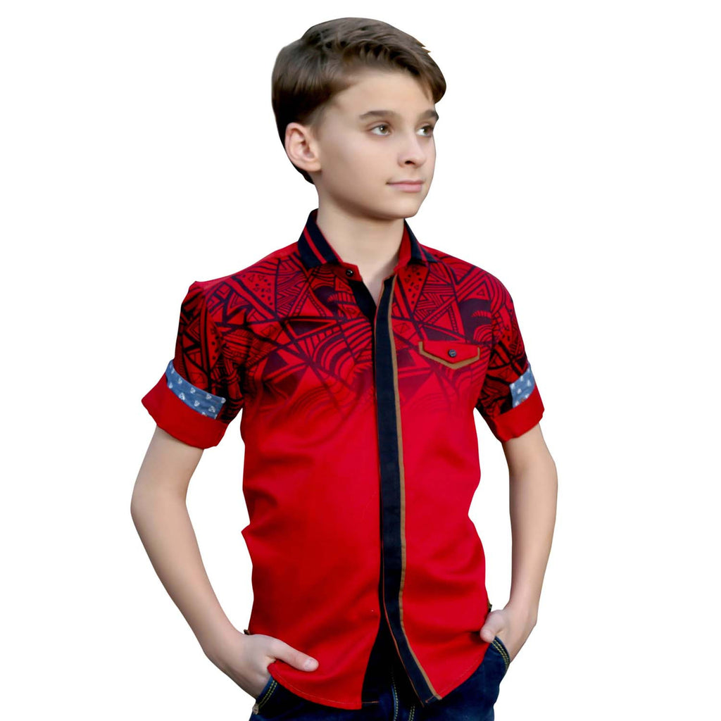 MashUp Graphic Print Red Shirt - mashup boys