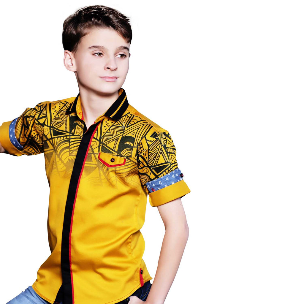 MashUp Graphic Print Mustard Shirt - mashup boys