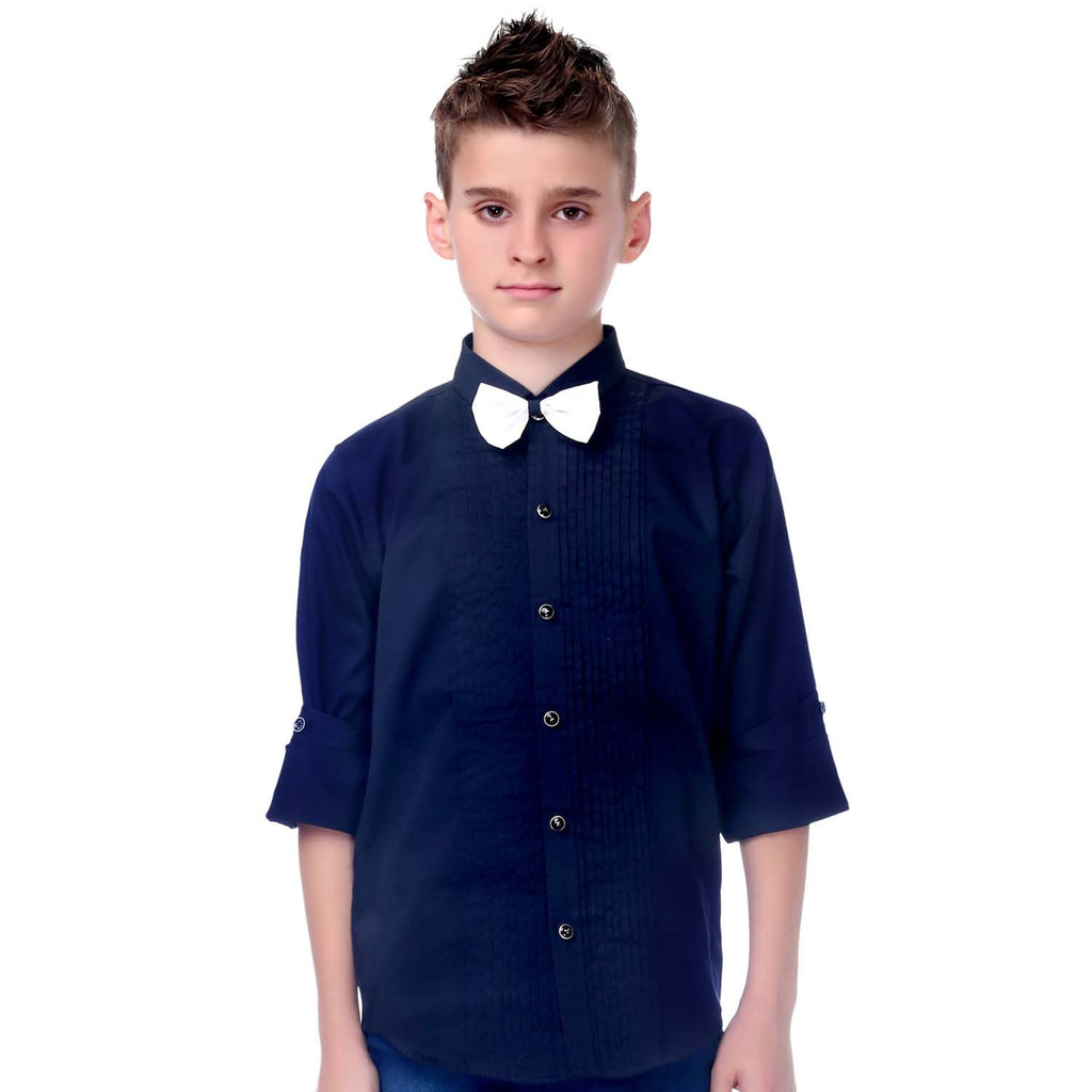 MashUp Navy Blue Tuxedo Shirt and Bowtie Combo - KRAZYLA