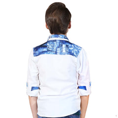 MashUp Printed Denim Linen Shirt - KRAZYLA