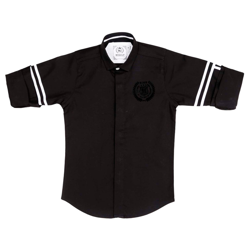 MashUp Trendy Striper Black/Navy Shirt - KRAZYLA