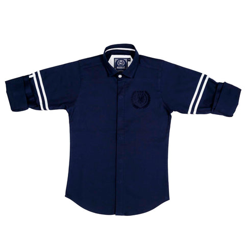 MashUp Trendy Striper Navy Shirt - KRAZYLA