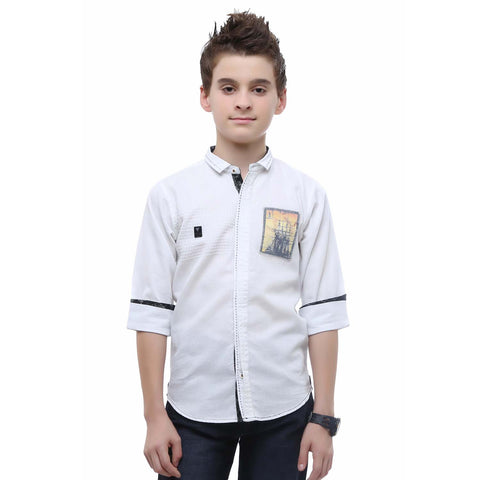 MashUp Classic White Textured Shirt - mashup boys