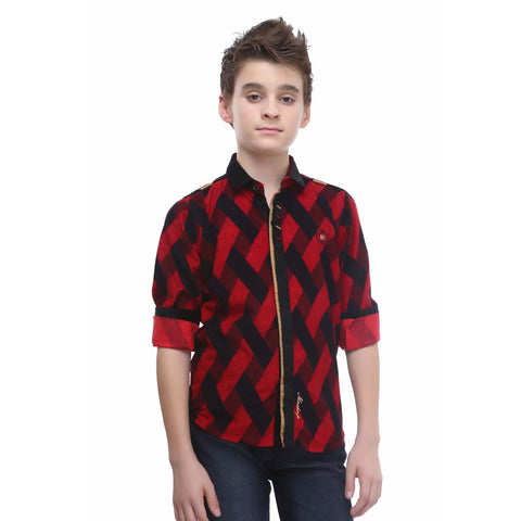 MashUp Red Printed Corduroy Shirt - mashup boys
