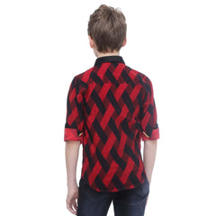 MashUp Red Printed Corduroy Shirt - KRAZYLA