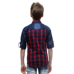 MashUp Casual Denim & Check Shirt - KRAZYLA