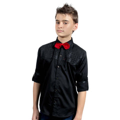 Black Designer Satin Shirt with Red Bow tie - KRAZYLA